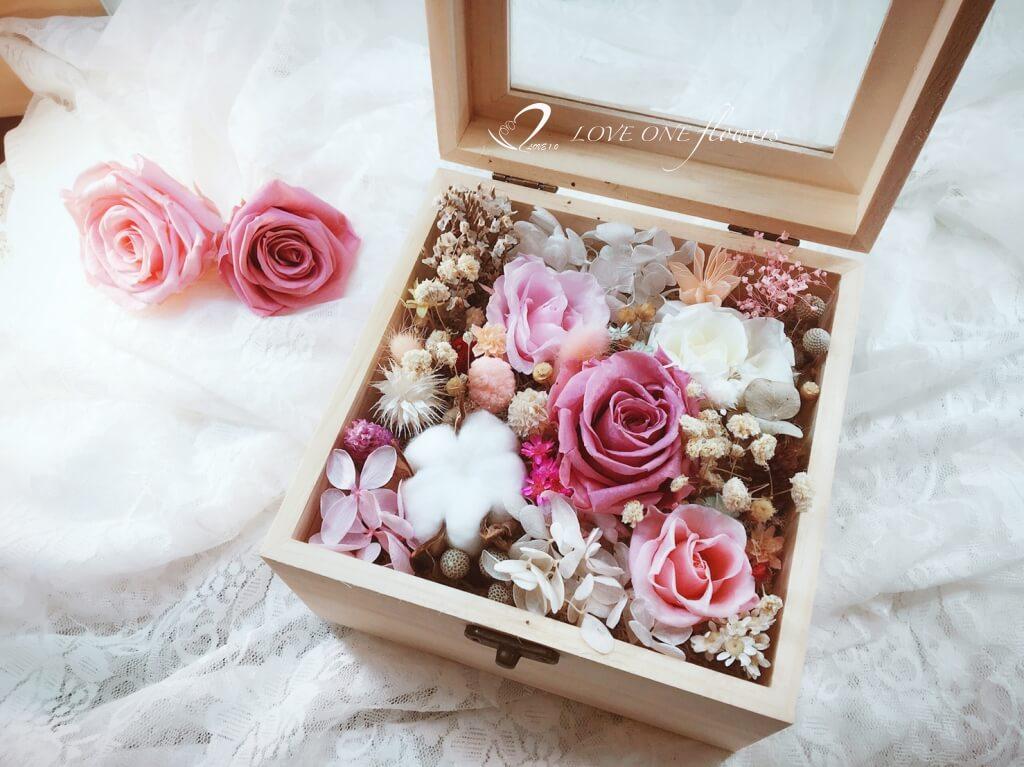 乾燥花不凋花木盒